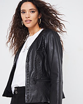 Joanna Hope Leather Eyelet Jacket
