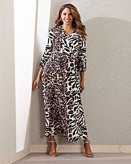 Joanna Hope Animal Print Wrap Maxi Dress