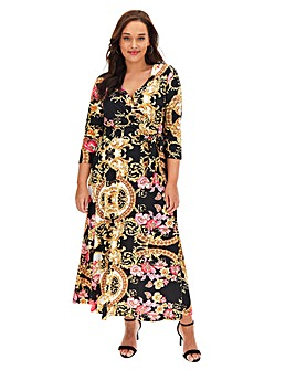 Joanna Hope Scarf Print Wrap Maxi Dress
