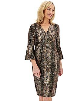 Joanna Hope Glitter Fluted Sleeve Dress