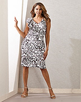 Joanna Hope Frill Animal Print Scuba Dress