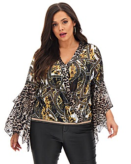 Joanna Hope Fluted Sleeve Blouson Blouse
