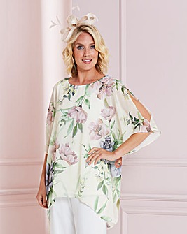 Nightingales Split Sleeve Print Blouse