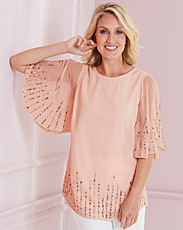 Nightingales Sequin Angel Sleeve Blouse