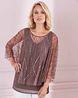 Nightingales Mocha Beaded Cape Top