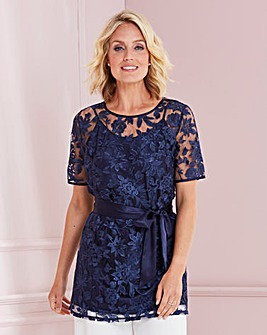 Nightingales Embroidered Top With Tie