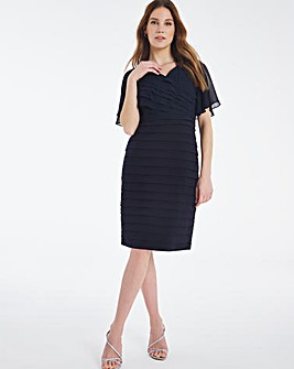 Nightingales Navy Pleated Angel Sleeve Dress