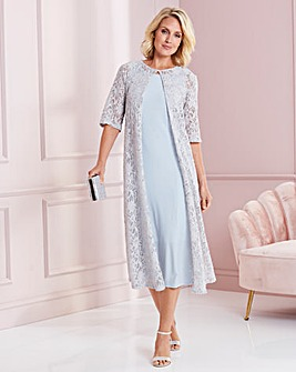 Nightingales Silver Grey Dress With Lace Jacket
