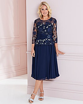 Nightingales Navy/Silver Embelished Lace Fit And Flare Dress