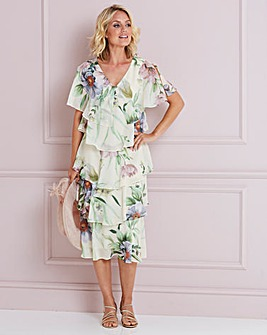Nightingales Cream Print Tiered Dress