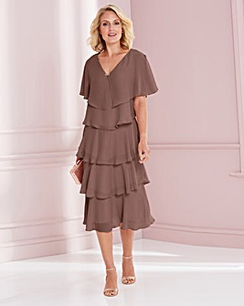 Nightingales Mocha Tiered Dress