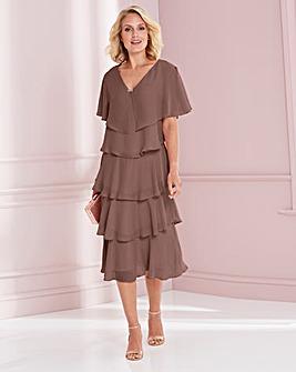 Nightingales Mocha Tiered Dress