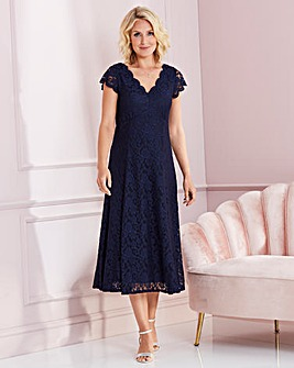Nightingales Navy Midi Scallop Lace Dress