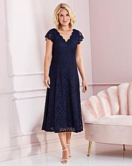 Nightingales Navy Midi Scallop Lace Dress