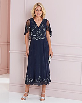 Nightingales Navy/Silver Beaded Maxi Dress
