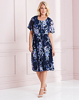 Nightingales Navy Printed Pleated Dress