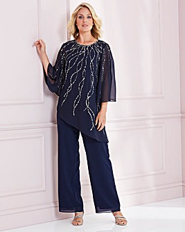Nightingales Navy Beaded Trouser Set