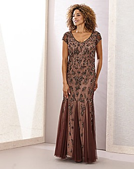 Joanna Hope Godet Beaded Maxi Dress