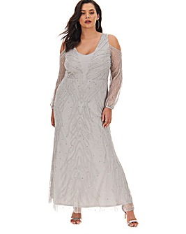 Joanna Hope Cold Shoulder Beaded Maxi Dress