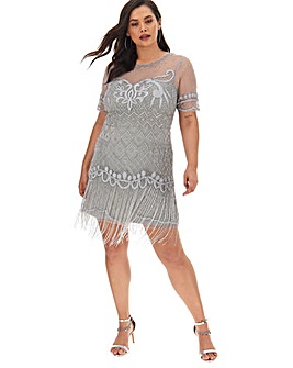 Joanna Hope Stretch Beaded Fringe Dress