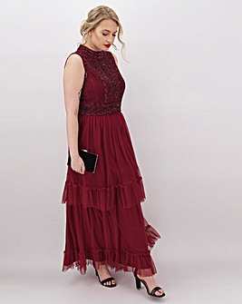 Joanna Hope Tiered Beaded Maxi Dress