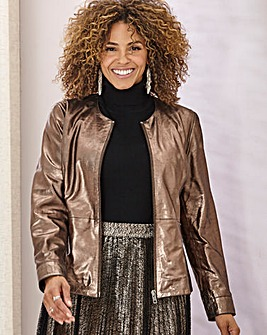 Joanna Hope Metallic Leather Biker