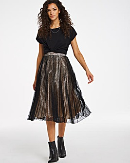 Joanna Hope Stretch Lace Pleated Skirt