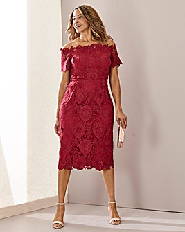 Joanna Hope Bardot Luxury Lace Dress