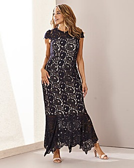 Joanna Hope Lace Hanky Hem Maxi Dress