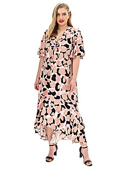 Joanna Hope Cape Sleeve Maxi Dress