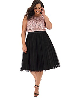 Joanna Hope Sequin Contrast Prom Dress