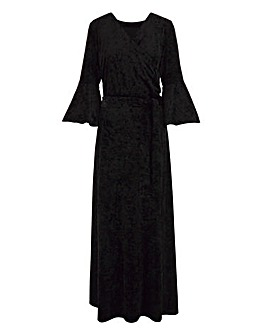 Joanna Hope Wrap Maxi Velour Dress