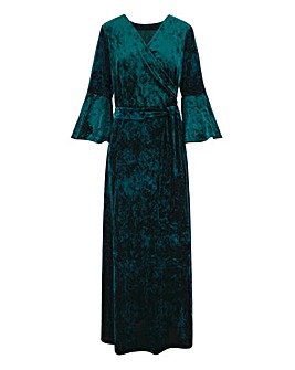 Joanna Hope Wrap Maxi Velour Dress