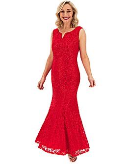 Joanna Hope Red Lace V-Neck Maxi Dress