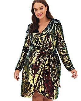 Joanna Hope Velour Wrap Sequin Dress