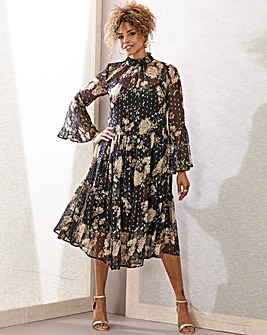 Joanna Hope Metallic Print Tiered Dress