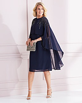 Nightingales Navy Beaded Cape Dress
