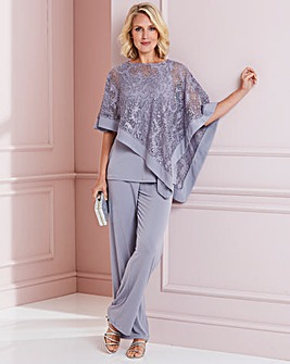 Nightingales Silver Grey Cape And Trouser Set