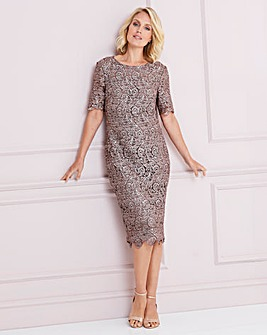 Nightingales Mocha Metallic Lace Dress