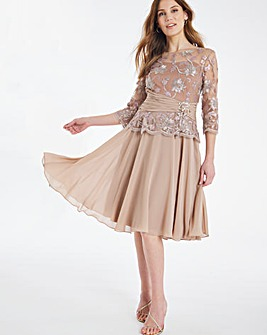 Nightingales Embelished Lace Fit And Flare Dress