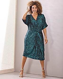 Joanna Hope Sequin Twist Front Dress