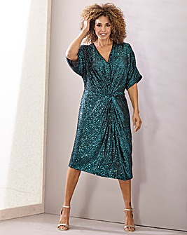 Joanna Hope Sequin Twist Front Dress