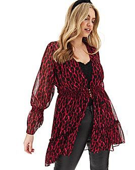 Joanna Hope Leopard Hi Low Hem Blouse
