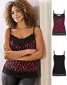 Joanna Hope Red Leopard 2 Pack Vest