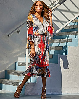 Joanna Hope Print wrap dress with tie