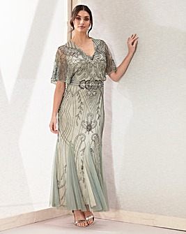 Joanna Hope Beaded Blouson Maxi Dress