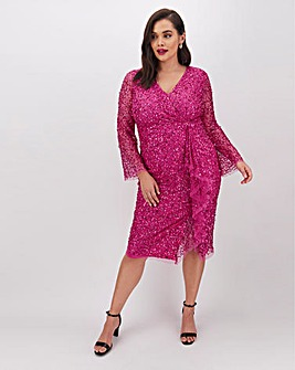 Joanna Hope Wrap Sequin Midi Dress