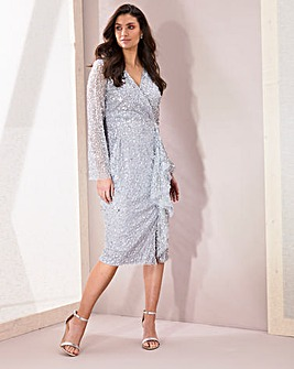 Joanna Hope Sequin Wrap Front Midi Dress