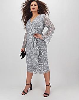 Joanna Hope Sequin Wrap Front Midi Dress