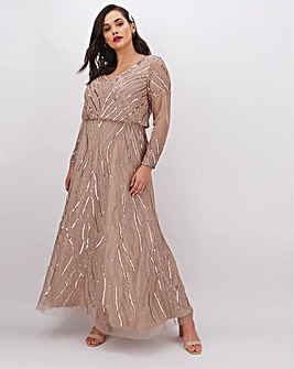 Joanna Hope Beaded V-Neck Maxi Dress